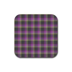 Tartan Fabric Colour Purple Rubber Square Coaster (4 Pack)  by Jojostore