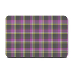 Tartan Fabric Colour Purple Small Doormat  by Jojostore