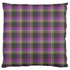 Tartan Fabric Colour Purple Large Cushion Case (two Sides) by Jojostore