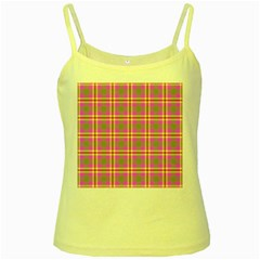Tartan Fabric Colour Pink Yellow Spaghetti Tank by Jojostore