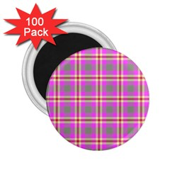 Tartan Fabric Colour Pink 2 25  Magnets (100 Pack)  by Jojostore