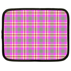 Tartan Fabric Colour Pink Netbook Case (large) by Jojostore