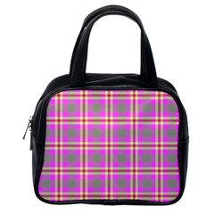 Tartan Fabric Colour Pink Classic Handbags (one Side) by Jojostore