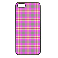 Tartan Fabric Colour Pink Apple Iphone 5 Seamless Case (black) by Jojostore