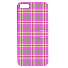 Tartan Fabric Colour Pink Apple Iphone 5 Hardshell Case With Stand by Jojostore