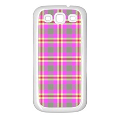 Tartan Fabric Colour Pink Samsung Galaxy S3 Back Case (white) by Jojostore