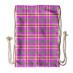 Tartan Fabric Colour Pink Drawstring Bag (large) by Jojostore