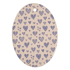 Heart Love Valentine Pink Blue Oval Ornament (two Sides) by Jojostore