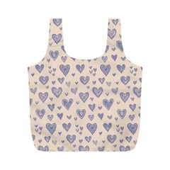 Heart Love Valentine Pink Blue Full Print Recycle Bags (m)  by Jojostore