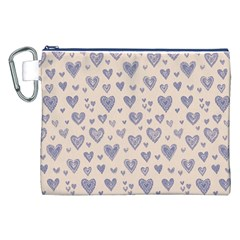 Heart Love Valentine Pink Blue Canvas Cosmetic Bag (xxl) by Jojostore