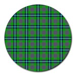 Tartan Fabric Colour Green Round Mousepads Front