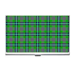 Tartan Fabric Colour Green Business Card Holders by Jojostore