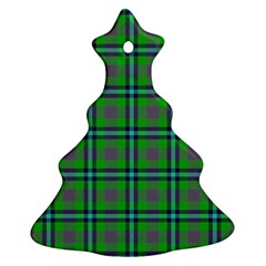 Tartan Fabric Colour Green Christmas Tree Ornament (two Sides) by Jojostore