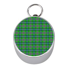 Tartan Fabric Colour Green Mini Silver Compasses by Jojostore