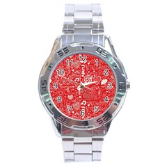 Happy Valentines Love Heart Red Stainless Steel Analogue Watch by Jojostore