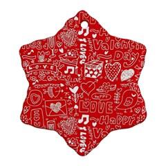 Happy Valentines Love Heart Red Ornament (snowflake) by Jojostore