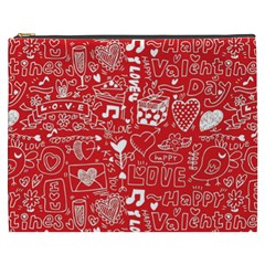Happy Valentines Love Heart Red Cosmetic Bag (xxxl)  by Jojostore