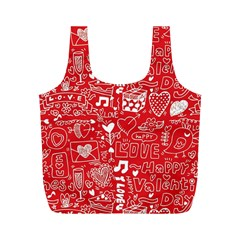 Happy Valentines Love Heart Red Full Print Recycle Bags (m)  by Jojostore