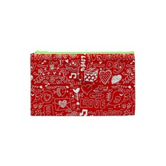 Happy Valentines Love Heart Red Cosmetic Bag (XS)
