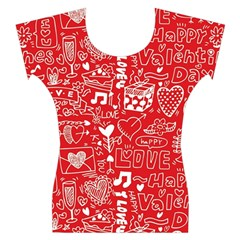 Happy Valentines Love Heart Red Women s Cap Sleeve Top