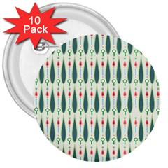 Geometric Blue Circle Blue 3  Buttons (10 Pack)  by Jojostore