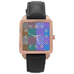 Alphabet Number Rose Gold Leather Watch