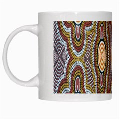 Aborigianal Austrialian Contemporary Aboriginal Flower White Mugs by Jojostore