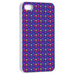 Beach Blue High Quality Seamless Pattern Purple Red Yrllow Flower Floral Apple Iphone 4/4s Seamless Case (white) by Jojostore
