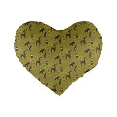 Animals Deer Owl Bird Grey Standard 16  Premium Heart Shape Cushions by Jojostore