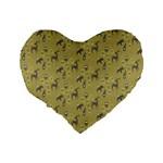 Animals Deer Owl Bird Grey Standard 16  Premium Flano Heart Shape Cushions Back