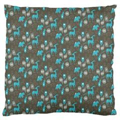Animals Deer Owl Bird Bear Bird Blue Grey Standard Flano Cushion Case (two Sides) by Jojostore