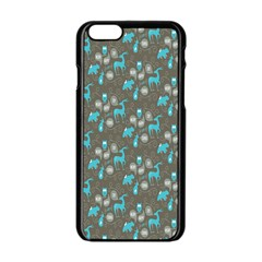 Animals Deer Owl Bird Bear Bird Blue Grey Apple Iphone 6/6s Black Enamel Case by Jojostore