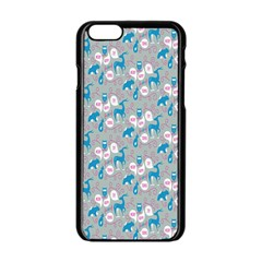Animals Deer Owl Bird Bear Grey Blue Apple Iphone 6/6s Black Enamel Case by Jojostore