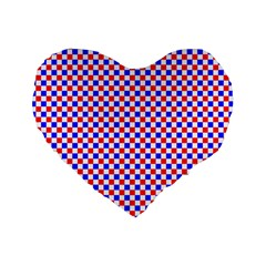 Blue Red Checkered Plaid Standard 16  Premium Flano Heart Shape Cushions by Jojostore