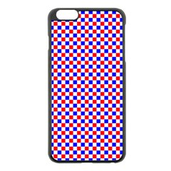 Blue Red Checkered Plaid Apple Iphone 6 Plus/6s Plus Black Enamel Case by Jojostore