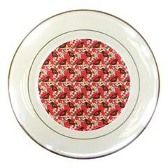 Birds Seamless Cute Birds Pattern Cute Red Porcelain Plates by Jojostore