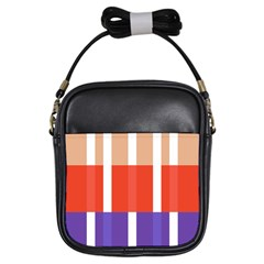 Compound Grid Flag Purple Red Brown Girls Sling Bags by Jojostore
