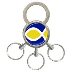 Flag Blue Yellow White 3 Ring Key Chains by Jojostore