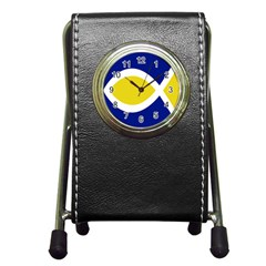 Flag Blue Yellow White Pen Holder Desk Clocks by Jojostore