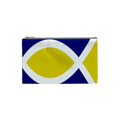 Flag Blue Yellow White Cosmetic Bag (small)  by Jojostore