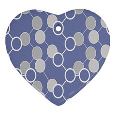 Circle Blue Line Grey Heart Ornament (two Sides) by Jojostore