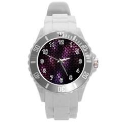 Fabulous Purple Pattern Wallpaper Round Plastic Sport Watch (l) by Jojostore