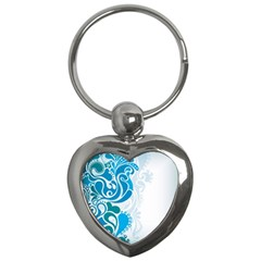 Garphic Leaf Flower Blue Key Chains (heart)  by Jojostore