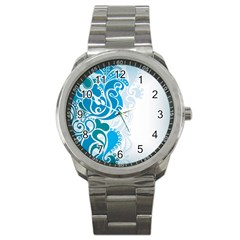 Garphic Leaf Flower Blue Sport Metal Watch by Jojostore