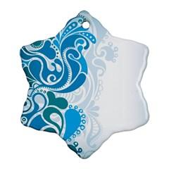 Garphic Leaf Flower Blue Ornament (snowflake) by Jojostore