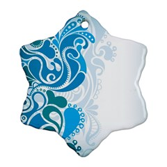 Garphic Leaf Flower Blue Snowflake Ornament (two Sides) by Jojostore