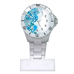 Garphic Leaf Flower Blue Plastic Nurses Watch by Jojostore