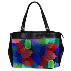 Floral Flower Rainbow Color Office Handbags (2 Sides)  by Jojostore