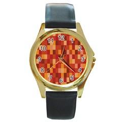 Canvas Decimal Triangular Box Plaid Pink Round Gold Metal Watch by Jojostore