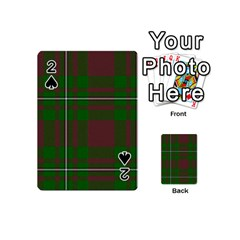 Cardney Tartan Fabric Colour Green Playing Cards 54 (mini)  by Jojostore